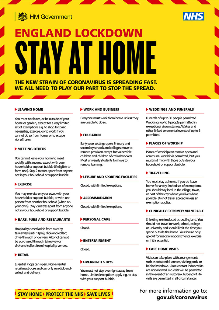 England Lockdown - Stay at Home poster (link to PDF version below)